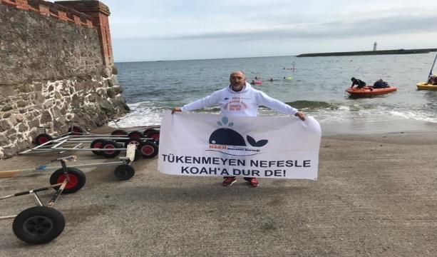 KOAH hastalığına dikkat çekmek için  Kuzey Kanalı'nı yüzerek geçti